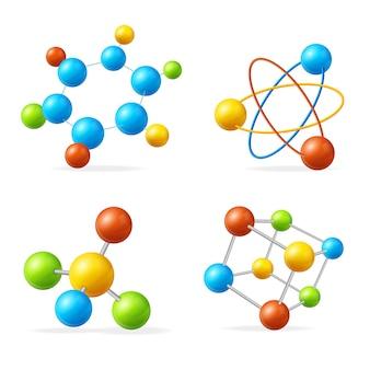 Streszczenie kolorowy zestaw molekuły dla nauki lub edukacji koncepcja elementów projektu sieci web. ilustracja wektorowa