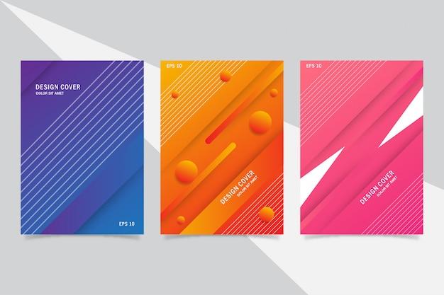 Streszczenie kolorowy zestaw szablonu projektu okładki