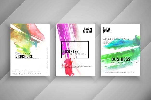 Streszczenie kolorowy zestaw trzech biznes broszura