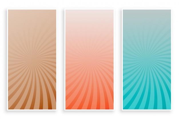 Streszczenie kolory promienie sunburst zestaw bannerów