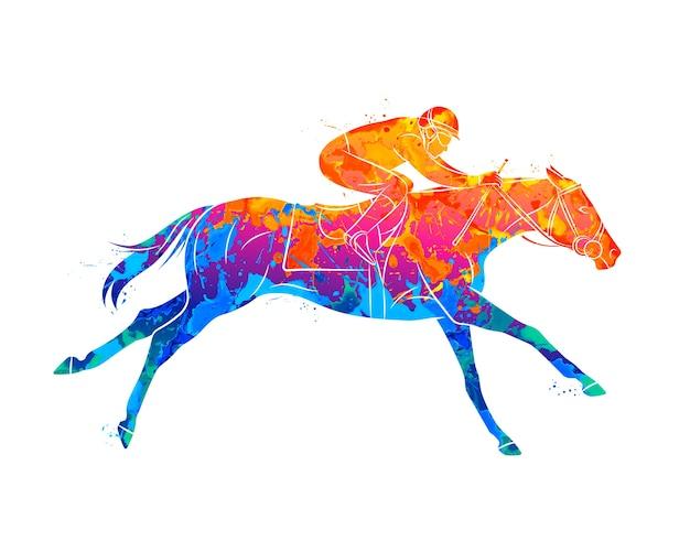 Streszczenie koń wyścigowy z dżokeja z plusk akwareli. sport jeździecki.