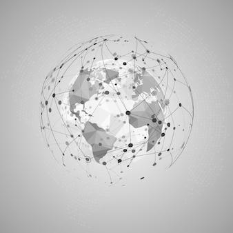 Streszczenie koncepcja internetu. światowa mapa wielokątna i wizualizacja struktura sieci splotu.