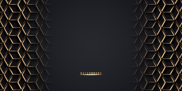 Streszczenie kostka, sześciokąt złote tło