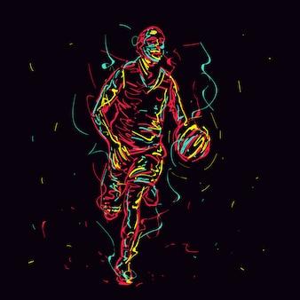 Streszczenie koszykarz dryblując piłkę