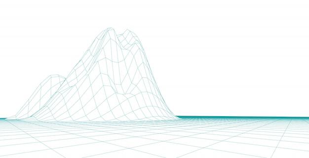 Streszczenie krajobraz tło. siatka cyberprzestrzeni. 3d ilustracja technologii.