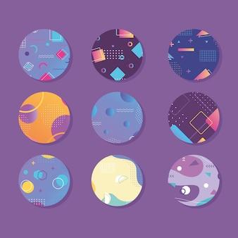 Streszczenie kreatywny baner geometryczny w stylu memphis, zestaw w okrągłym kształcie ilustracji