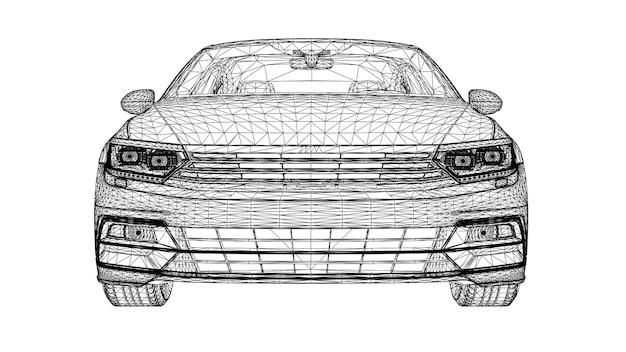 Streszczenie kreatywny wektor 3d linie samochodów sportowych połączonych z punktami