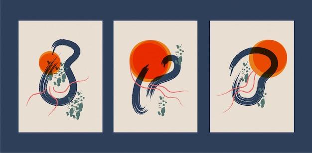 Streszczenie kreatywnych minimalistycznych ręcznie malowanych ilustracji do dekoracji ścian