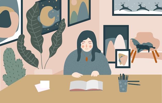 Streszczenie kreskówka ręcznie malarz dziewczyna w studio.