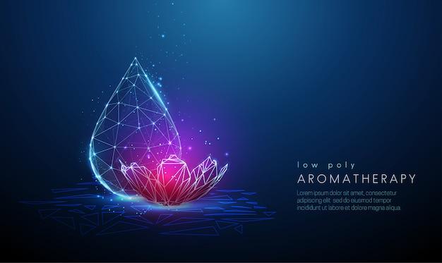 Streszczenie kropla wody z cyfrowym purpurowym kwiatem.