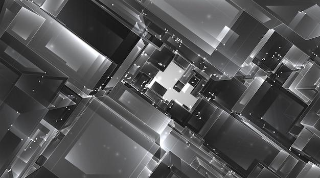 Streszczenie kryształ 3d. widok na dachy miasta, duży chaotyczny zestaw szklanych zawieszek.