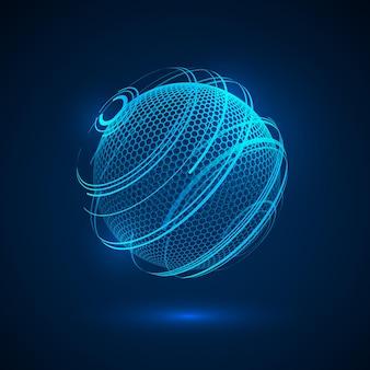 Streszczenie kuli hologram tecjnology. sfera neonowa science fiction. futurystyczne tło cyfrowe.