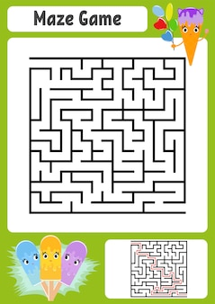 Streszczenie kwadratowy labirynt. arkusze dla dzieci. gra logiczna dla dzieci.