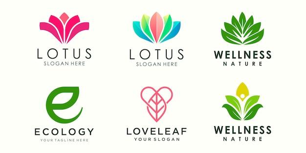 Streszczenie kwiat lotosu ozdoba logo ikona zestaw szablon projektu jogi wektor