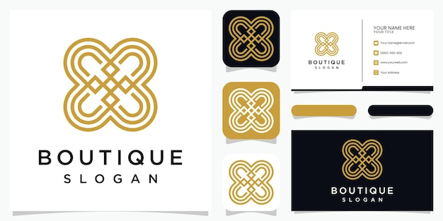 Streszczenie kwiat połączone projektowanie logo litera b