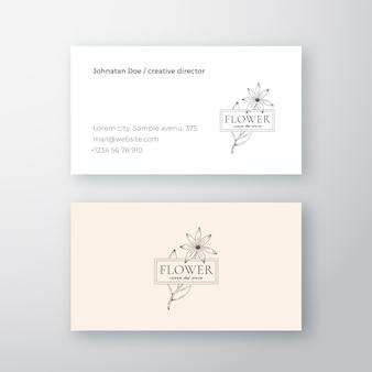 Streszczenie kwiat z ramą wektor znak lub logo i szablon wizytówki.