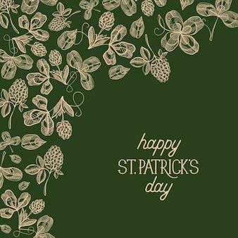 Streszczenie kwiatowy plakat st patricks day z napisem i szkic ilustracji wektorowych koniczyny irlandzkiej