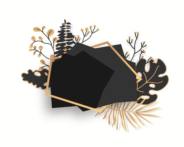 Streszczenie kwiatowy rama z tropikalnych liści, gałęzi, jagód. pusty czarny wielościan. luksusowy ozdobny nowoczesny wielokątny geometryczny baner.