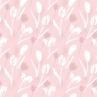 Streszczenie kwiatowy wzór tulipany. modne ręcznie rysowane tekstury.