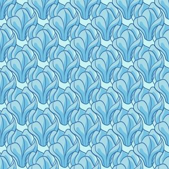 Streszczenie kwiatowy wzór z wyprofilowanymi niebieskimi kolorami kwiatów magnolii sylwetki. dekoracyjny nadruk. płaski nadruk wektorowy na tekstylia, tkaniny, opakowania na prezenty, tapety. niekończąca się ilustracja.