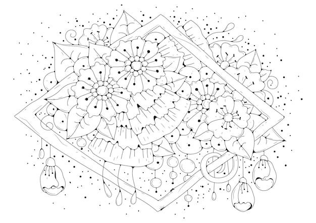 Streszczenie kwiaty i pąki. kolorowanka
