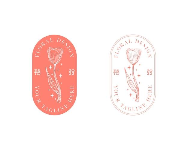 Streszczenie kwiaty wektor znaki lub szablony logo retro ilustracja kwiatowy z klasyczną typografią f