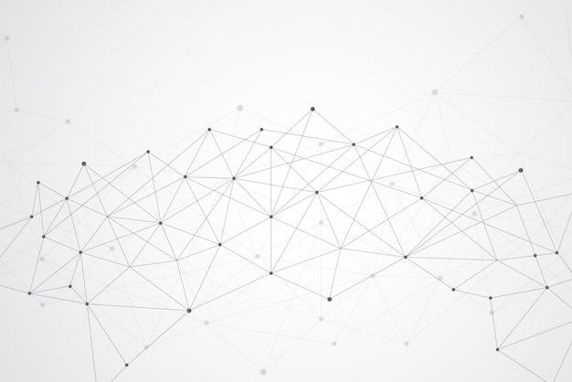 Streszczenie łączące kropki i linie geometryczne tło