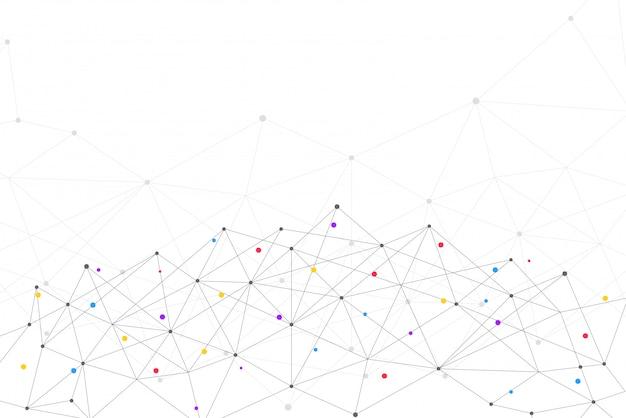 Streszczenie łączące kropki i linie z geometrycznym tłem