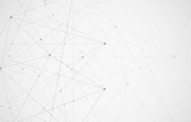Streszczenie łączenia kropek i linii. tło nauki o połączeniu