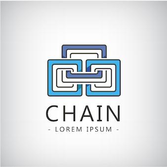 Streszczenie łańcuch trzy części, logo na białym tle. tożsamość biznesowa, kreatywny pomysł