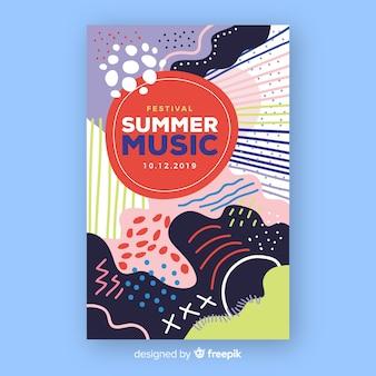 Streszczenie lato plakat muzyczny w stylu rysowane ręcznie