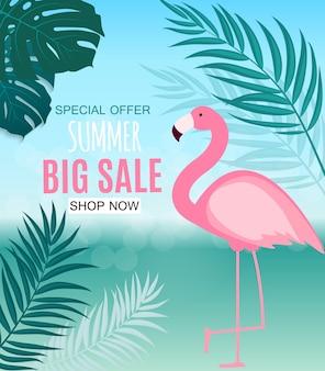Streszczenie lato sprzedaż transparent z liści palmowych i czerwonak. ilustracja wektorowa