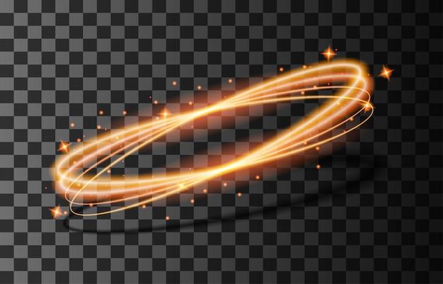 Streszczenie linie z efektem świetlnym blask. połysk specjalny efekt świetlny. świecące linie na przezroczystym tle.