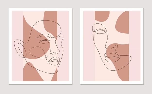 Streszczenie linii ściany sztuki wektor zestaw z twarze kobiet. ciągły jeden rysunek linii. minimalistyczna grafika ścienna o różnych kształtach kolory terakoty do dekoracji ścian. ilustracja wektorowa