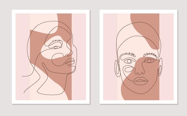 Streszczenie linii ściany sztuki wektor zestaw z twarze kobiet. ciągły rysunek jednej linii o abstrakcyjnym kształcie. minimalistyczna grafika ścienna o różnych kształtach kolory terakoty do dekoracji ścian. ilustracja wektorowa