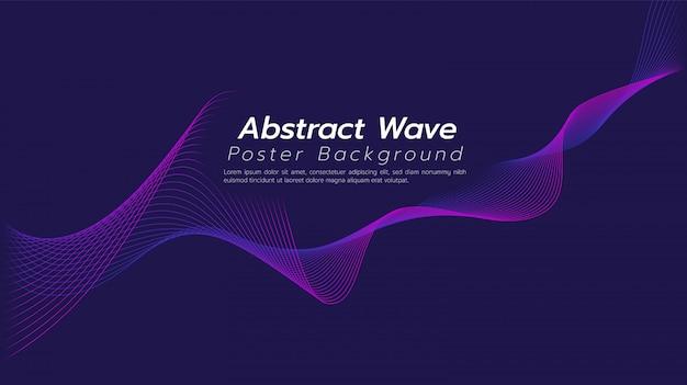 Streszczenie linii wave tło ciemny fioletowy ton.