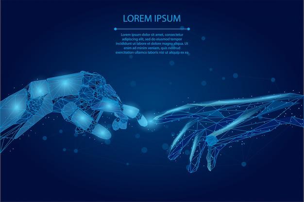 Streszczenie linii zacieru i punkt ręce człowieka i robota low poly wireframe dotykając palcami.
