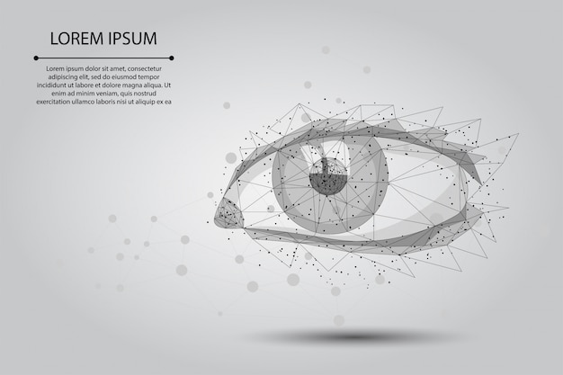 Streszczenie linii zacieru i punktowej laserowej korekcji wzroku. nowoczesna technologia chirurgii operacyjnej ludzkiej tęczówki low poly