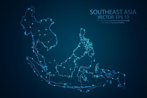 Streszczenie linii zacieru i skale punktowe na mapie azji południowo-wschodniej. linia siatki wielokątnej siatki drucianej siatki 3d