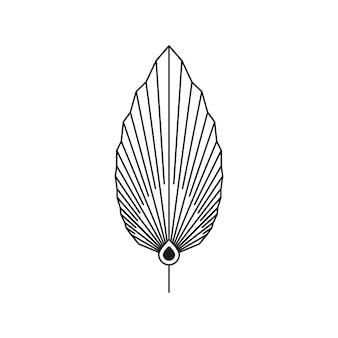 Streszczenie liść palmowy w modnym stylu minimalistycznym liniowej. wektor godło boho suszone tropikalny liść. ilustracja kwiatowa do tworzenia logo, wzoru, nadruków na koszulkach i ścianach, tatuażu, postów w mediach społecznościowych i historii