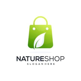 Streszczenie liść z logo w kształcie sklepu kombinacji
