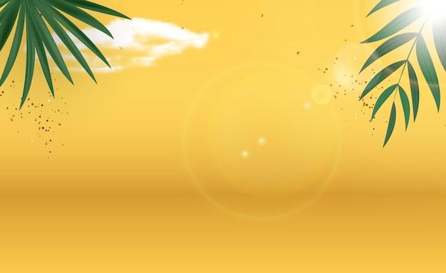 Streszczenie liści palmowych żółte tło lato