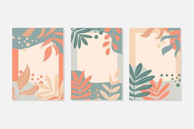 Streszczenie liście sztuki. zestaw pocztówek w pastelowych kolorach. jesienne liście i elementy wystroju. ilustracja wektorowa