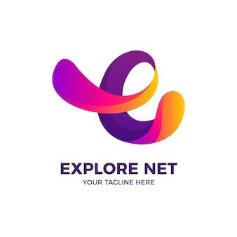 Streszczenie listu e kolor gradientu styl logo szablon