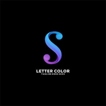 Streszczenie listu s gradientowe kolorowe logo ilustracja.