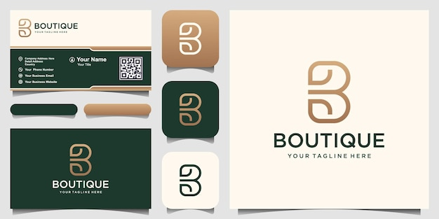 Streszczenie litery b połączone projektowanie logo liść