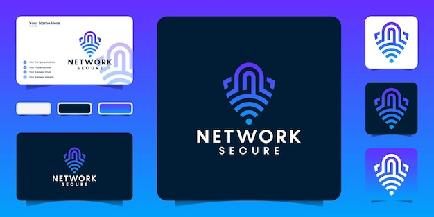 Streszczenie Logo Bezpieczny Symbol Danych Sieciowych I Projekt Wizytówki Premium Wektorów