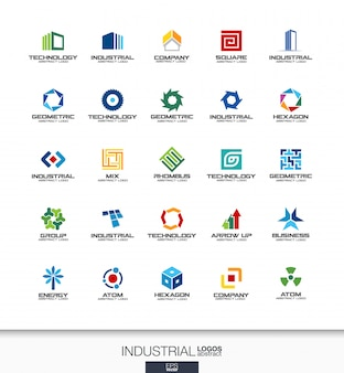 Streszczenie logo dla firmy. elementy tożsamości korporacyjnej. budownictwo, przemysł, koncepcje architektoniczne. praca, inżynier, technologia łączą kolekcję logotypów. kolorowe ikony