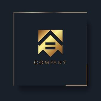 Streszczenie logo geometryczne złoty dom