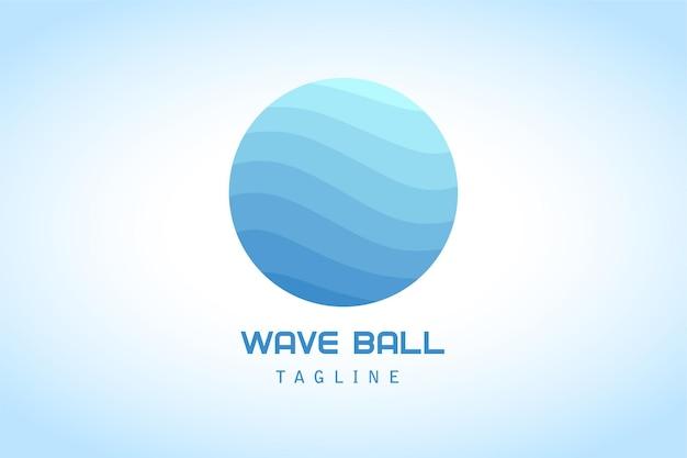 Streszczenie logo gradientu niebieskiej fali w kształcie koła